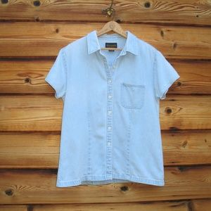 Vintage 90s Abercrombie and Fitch Blue Denim Top